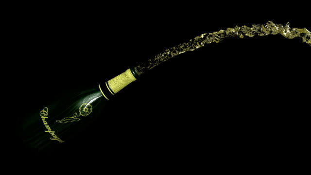 Champagne bottle exploding with alpha channel. HD1080. video