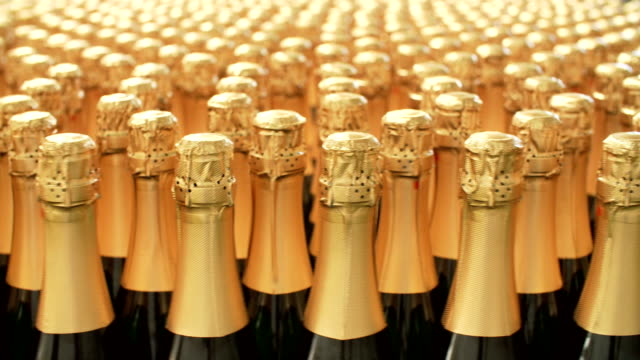 Champagne bottles on factory conveyor belt video