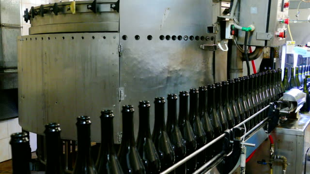 Champagne bottling line in the factory video