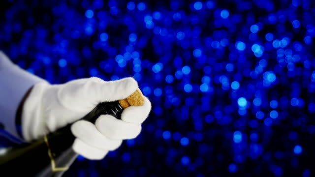 Champagne cork popping. video