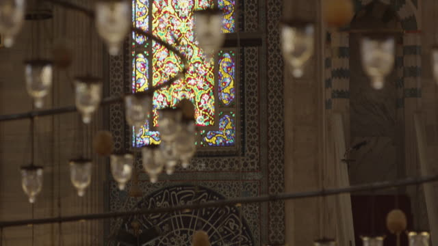 chandeliers of the suleymaniye mosque in istanbul - eid mubarak stock videos and b-roll footage