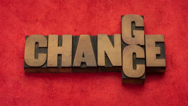 変化とチャンス - ヴィンテージの版画木のタイプでモーションアニメーションを停止 - 幸運点の映像素材/bロール
