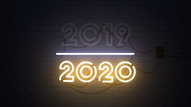 2019-2020 change happy new year 2020 neon sign - new years stock videos & royalty-free footage