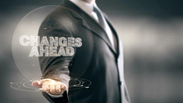 Changes Ahead Businessman Holding in Hand New technologies video