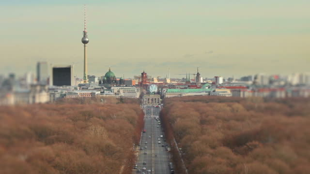 changing seasons - Berlin panoramic cityscape video