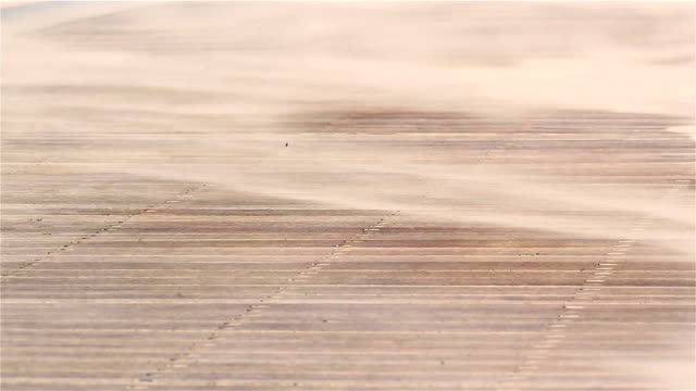 Changing sky, wind, sea, sand and sun on the coastline (sand blown close view) video