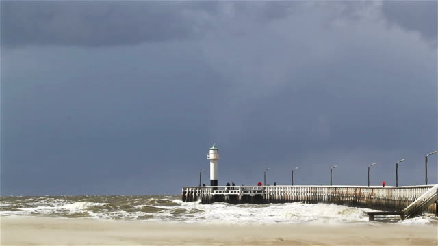 Changing sky, wind, sea, sand and sun on the coastline (storm approach) video