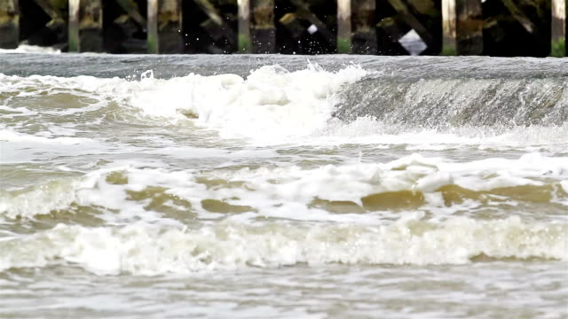 Changing sky, wind, sea, sand and sun on the coastline (high tide) video