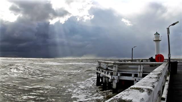 Changing sky, wind, sea, sand and sun on the coastline video