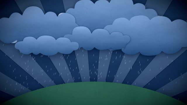 Changing Weather. Rain and Sun. Cartoon style. HD 1080.