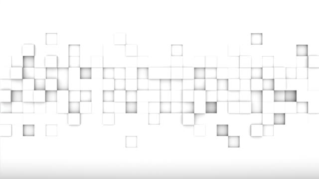 Chaotic extruded white cubes 3D render loopable animation Chaotic extruded white cubes. Geometric 3D render smooth animation. Computer generated seamless loop abstract background block shape stock videos & royalty-free footage