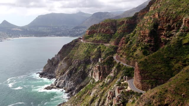 Chapman's Peak Drive near Cape Town Aerial view over the winding Chapman's Peak drive near Cape Town, South Africa south africa stock videos & royalty-free footage