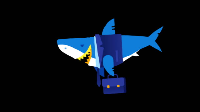 character business shark holding briefcase and smiling. loop animation. alpha channel. - penombra video stock e b–roll