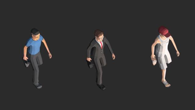 stockvideo's en b-roll-footage met character man walking looping animatie met alpha channel isometrische - isometric