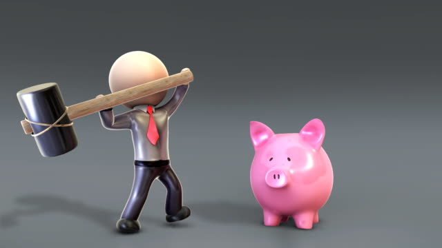 3D Character Smashes Piggy Bank video