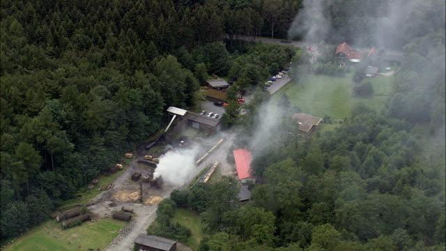 Charcoal Burning Neat Altenbrak  - Aerial View - Saxony-Anhalt,  Germany video