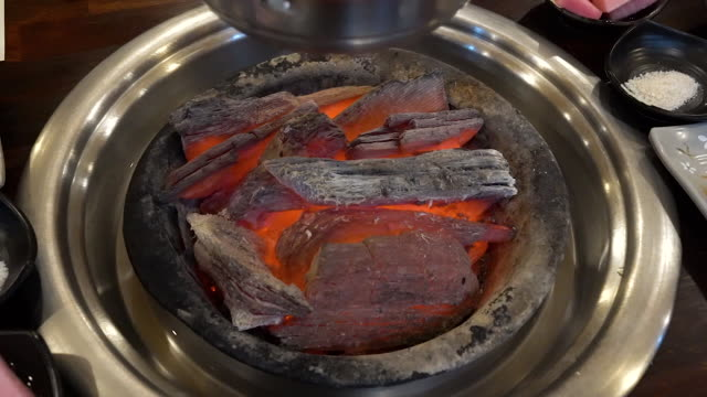 charcoal fire before the raw duck meat is served - alliacee video stock e b–roll