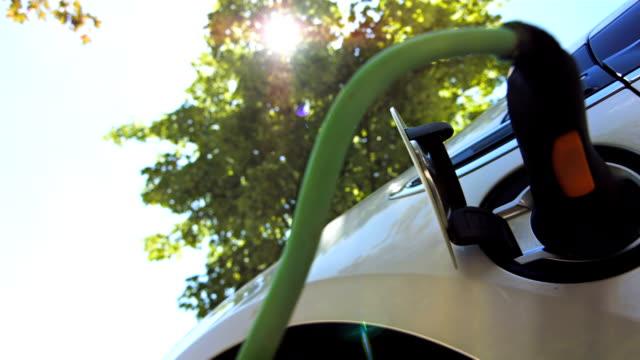 hd :電気自動車の充電には、緑の木々 - 電気自動車点の映像素材/bロール
