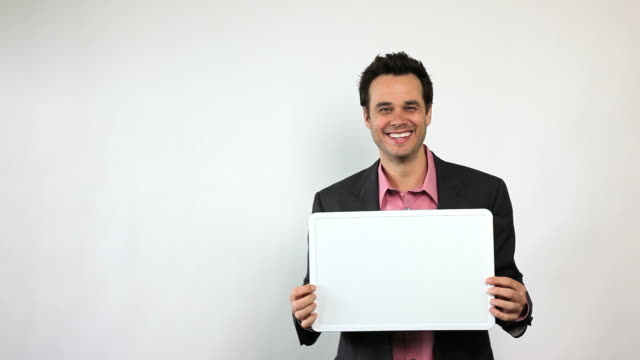 Charismatic Sales Guy Holding White Board, Clowning Around video