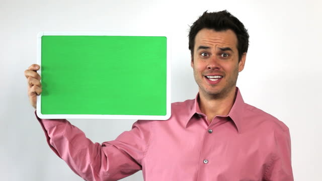 Charismatic Sales Guy With Green Screen Board, Worried video