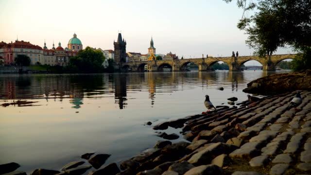 日の出のカレル橋 - チェコ共和国点の映像素材/bロール