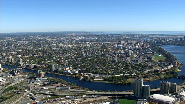 Charles River  - Aerial View - Massachusetts,  Middlesex County,  United States video
