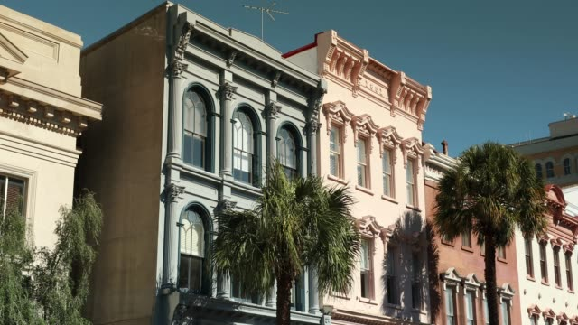 Charleston South Carolina downtown business district Row of old historic downtown business buildings on Broad and Meeting streets in Charleston South Carolina USA south carolina stock videos & royalty-free footage