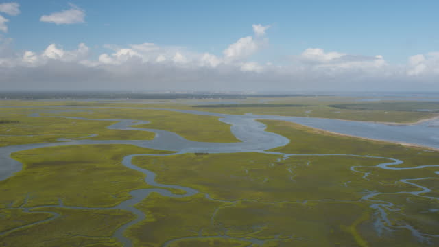 vídeos de stock e filmes b-roll de charleston south carolina folly beach aerial v48 panning low over folly beach wetland - sul