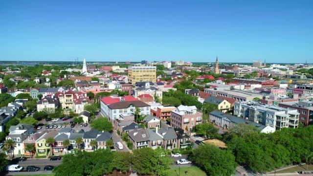 Charleston South Carolina USA Riverfront Aerial Flyover