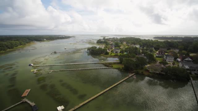 Charleston South Carolina Westchester Aerial v31 Birdseye view of neighborhood waterway