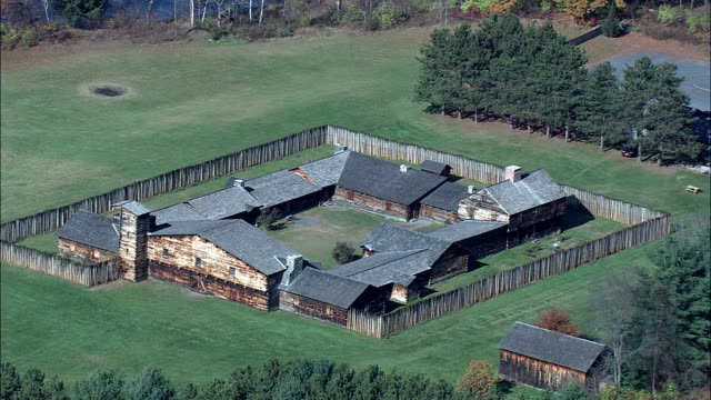 Charlestown Fort  - Aerial View - New Hampshire,  Sullivan County,  United States video