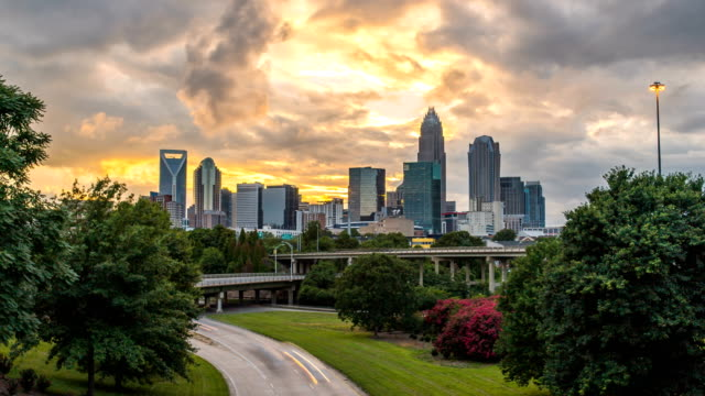 Charlotte sunset time lapse over bridge 4k 1080p video