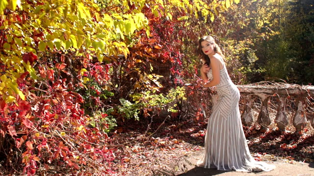 Charming girl in an evening dress posing for the camera in beautiful autumn Park