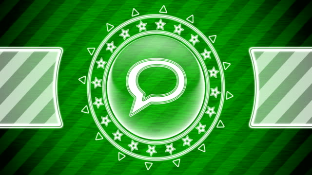 Chat icon in circle shape and green striped background. Illustration.