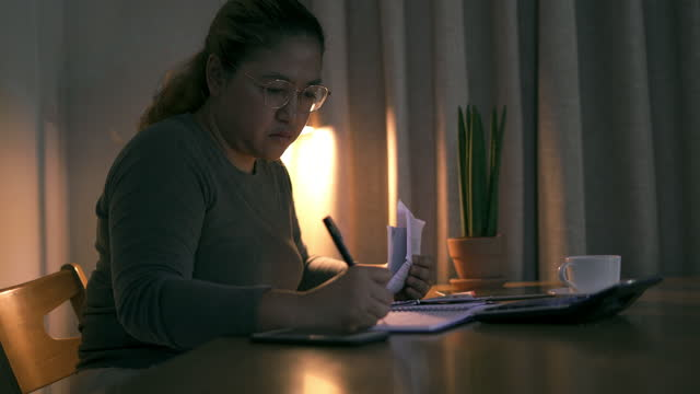 Check financial documents and budget at home video