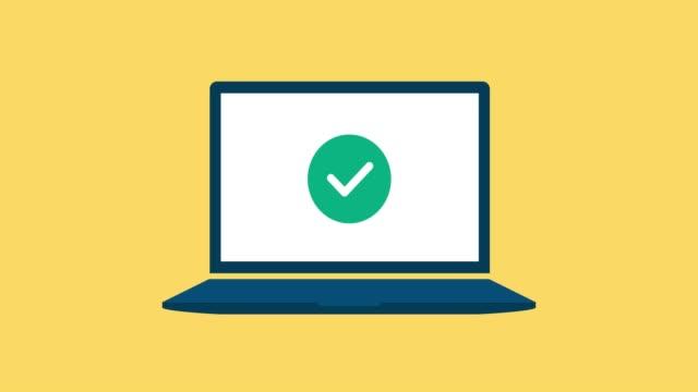 check mark and cross icons on a laptop - negacja filmów i materiałów b-roll
