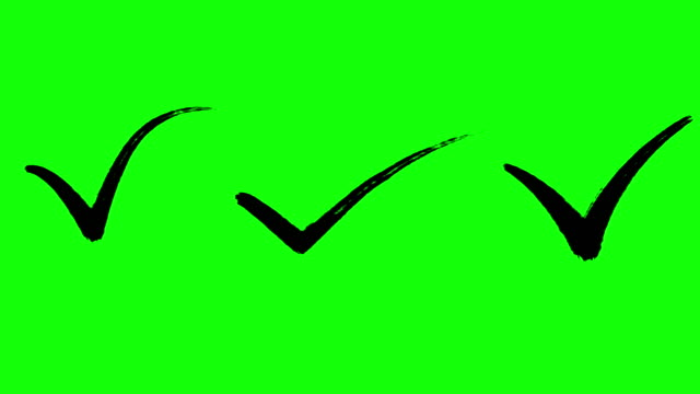 Check mark, Approval sign, writing effect, brush effect, Green Screen, Animated, Black color