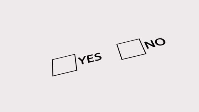 Checkboxes with Yes and No symbols. Marketing Survey. Yes choice. 4K video