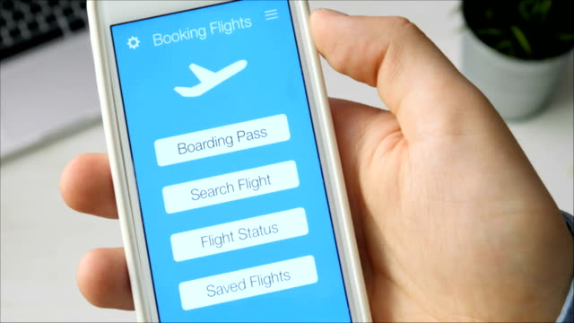 Checking boarding pass using mobile application on the smartphone Checking boarding pass using mobile application on the smartphone Using smartphone application web page stock videos & royalty-free footage