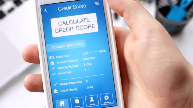 Checking credit score on smartphone using application. The result is VERY POOR video