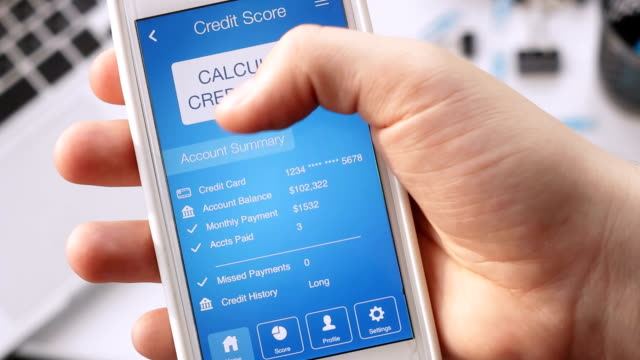 Checking credit score on smartphone using application. The result is EXCELLENT video