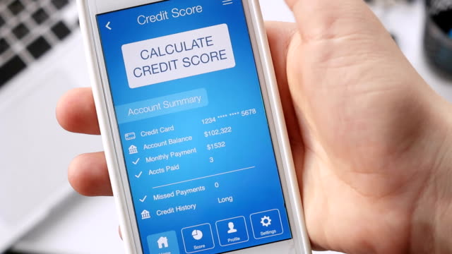 Checking credit score on smartphone using application. The result is POOR video