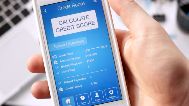 Checking credit score on smartphone using application. The result is GOOD video