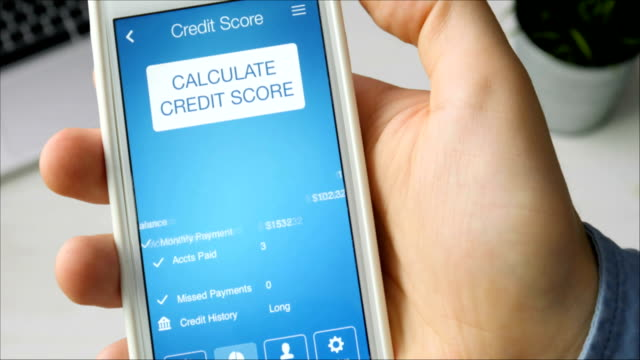Checking credit score on smartphone using application. The result is AVERAGE video