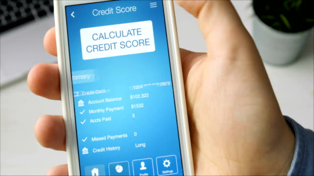 Checking credit score on smartphone using application. The result is VERY GOOD video