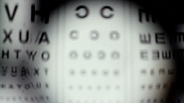 Checking eyes with ophthalmologist equipment, taking vision test Checking eyes with ophthalmologist equipment, taking vision test eye chart stock videos & royalty-free footage