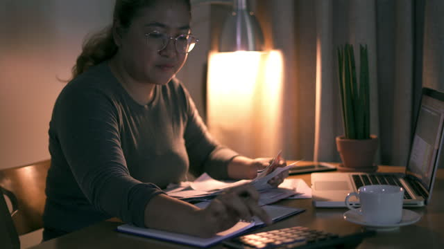 Checking financial documents and budget video