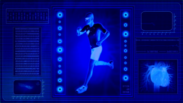 Checking human abilities - x-ray view. Health jogging. video