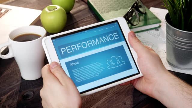 Checking performance info using digital tablet