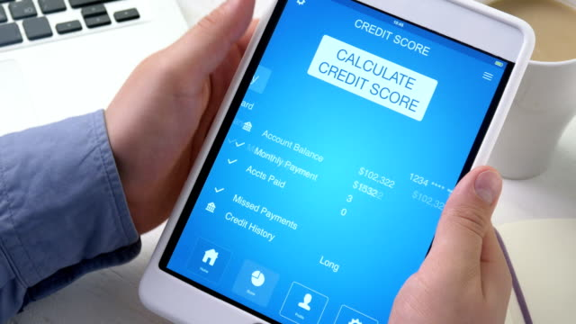 Checking poor credit score on digital tablet video